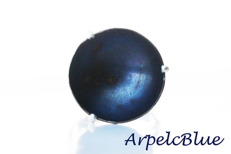 Midnight blue titanium cocktail ring, adjustable  from Arpelc Blue Titanium Jewelry by DaWanda.com