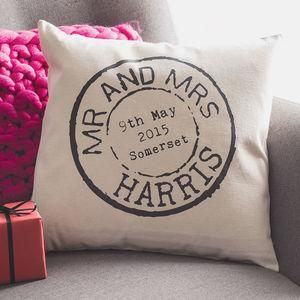 Personalised Wedding Stamp Cushion - Wedding gifts that will leave the new couple head over heels in love all over again. Thoughtful and personalised presents for the newlyweds.
