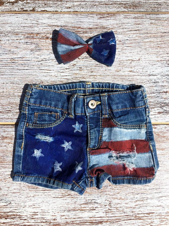 Kids girls 4th of July Jean denim short and bow set, 4th of July baby Girl, baby girl distressed jean shorts