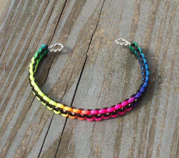 Rainbow Black Macrame Cuff Bracelet by TheShimmeringPalace on Etsy, $9.99