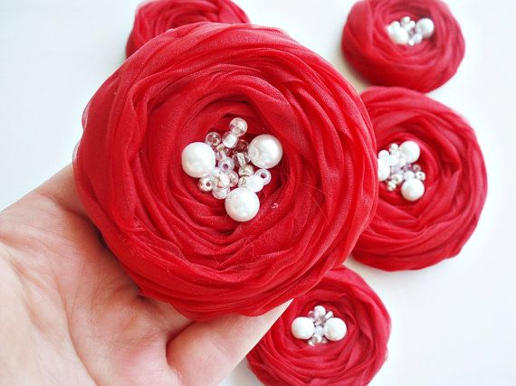 Red Roses Handmade Appliques Embellishments5 pcs by BizimSupplies