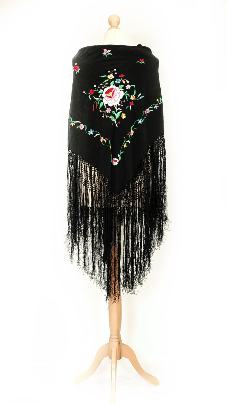 Vintage/antique black chinese/spanish embroidered piano shawl/stole/cape with pink embroidered flower motif