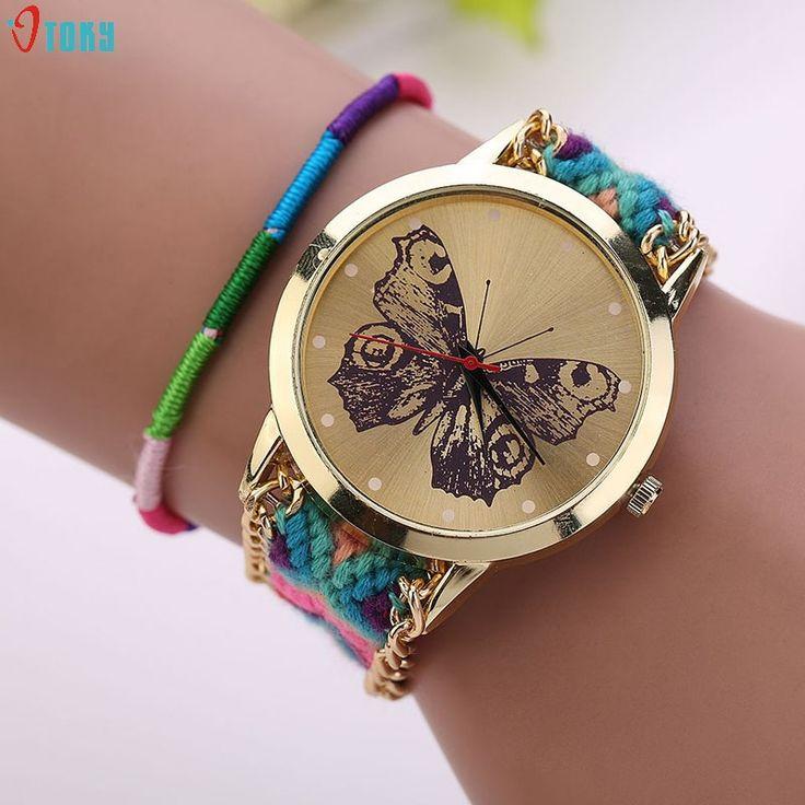 OTOKY 2017 Women Girl Handmade Weaved Braided Butterfly Bracelet Dial Quarzt Watches reloj mujer kol saati  JUN 29