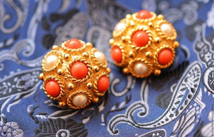 Купить клипсы в византийском стиле - золотой, винтажные клипсы, клипсы, византийский стиль, металл, стекло