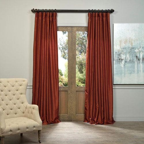Burnt Orange Vintage Textured Faux Dupioni Silk Single Panel Curtain, 50 X 84 Drapery Set