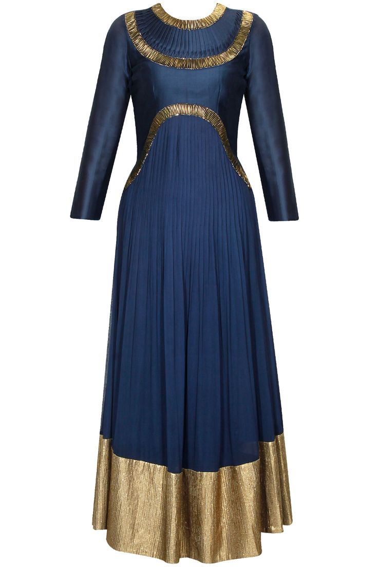 Navy blue and gold beads embroidered flared anarkali set available only at Pernia's Pop Up Shop.#perniaspopupshop #shopnow #newcollection #ethnic ##happyshopping #clothing#jyotisachdeviyer