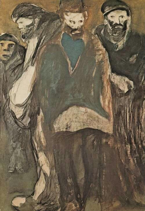 Lorenzo Viani (It. 1882-1936) Tipi di Parigi / Parisian types (1908-09) Charcoal + watercolour on cardboard, 99x96 cm.