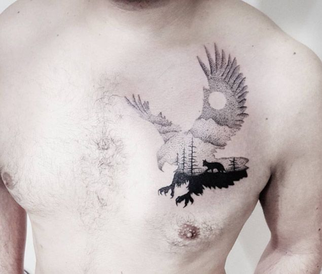 I'd love to do something similar with a raven.   Eagle Silhouette Tattoo by Adana