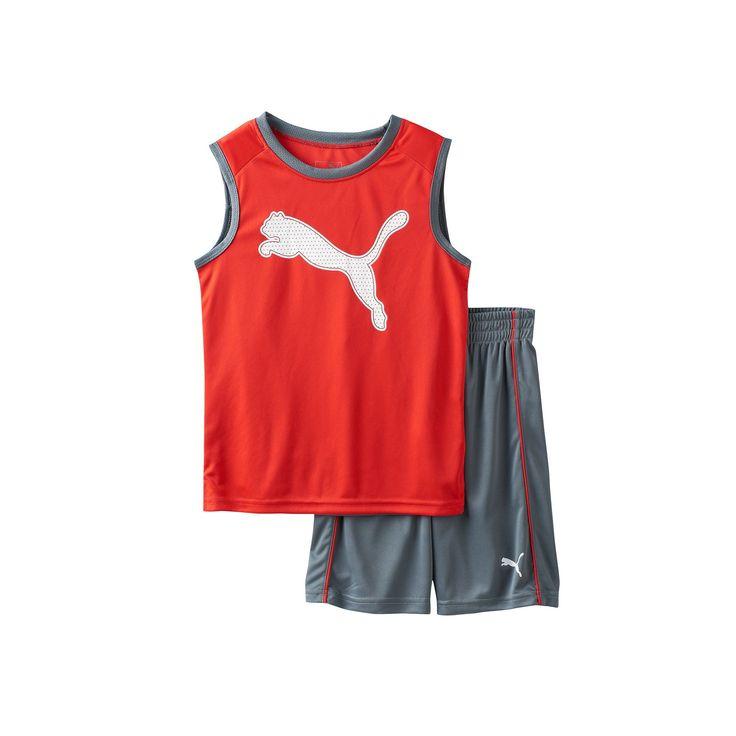 Boys 4-7 PUMA Graphic Performance Tank Top & Shorts Set, Boy's, Size: 7, Med Grey