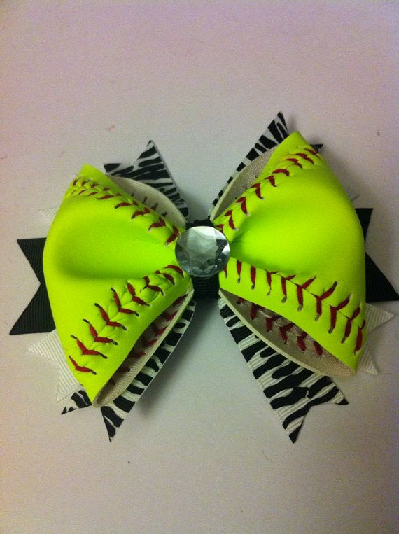 Softball Hair Bow  REAL Softball All Yellow by 3CraftinSisters, $10.00