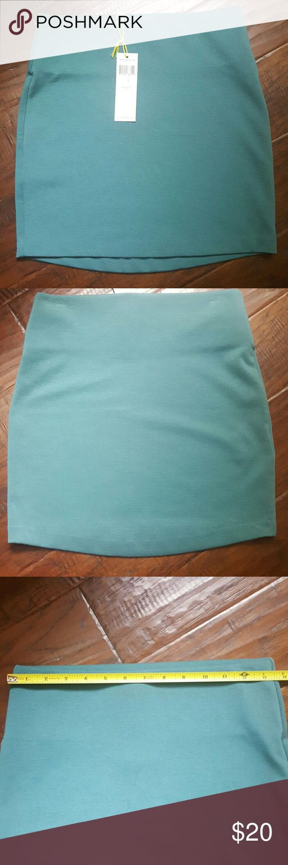 "NWT BCBGeneration pullover skirt Pullover skirt by BCBGeneration Beautiful sage color Measures 15.25"" long 98% polyester 2% spandex BCBGeneration Skirts Mini"