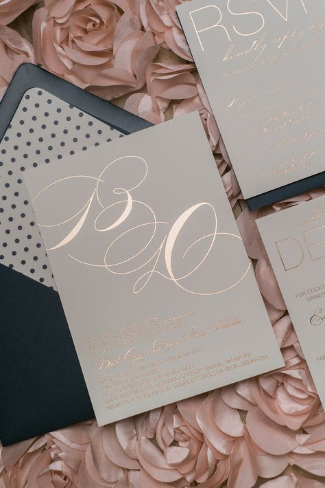 JESSICA Suite Cutie Package, rose gold foil, navy polka dots, elegant wedding invitation
