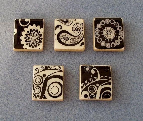 Black and White Zentangle Designs Scrabble Tile  by HomespunSpirit, $6.50