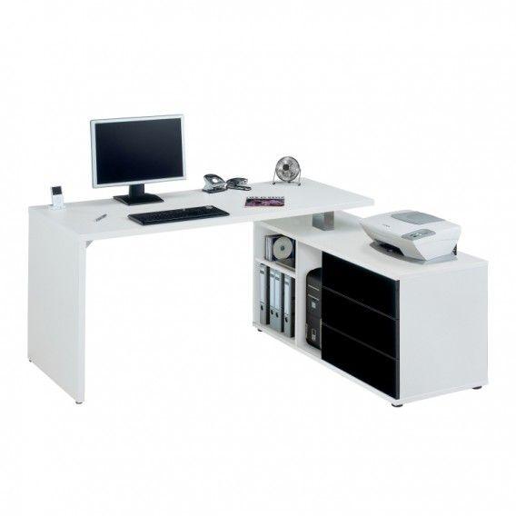Computertisch CPL 560 - Sideboard 360-Grad drehbar, Schubladen: Schwarz, Hochglanz | Home24