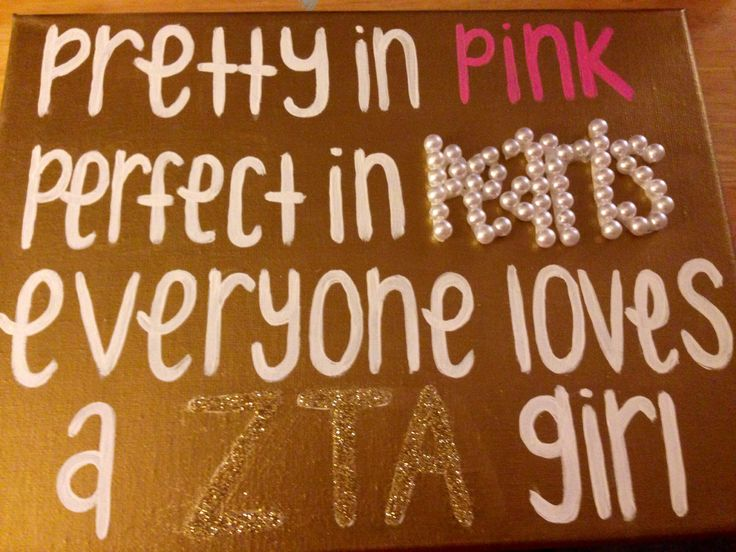 Pretty in pink, perfect in pearls, everyone loves a ZTA girl #zta #zetataualpha #zeta #crown #pink #pearl #canvas #quote #crafting #painting