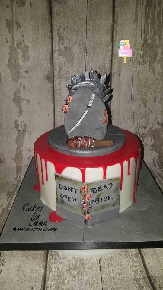 Walking Dead Birthday cake with red drip
