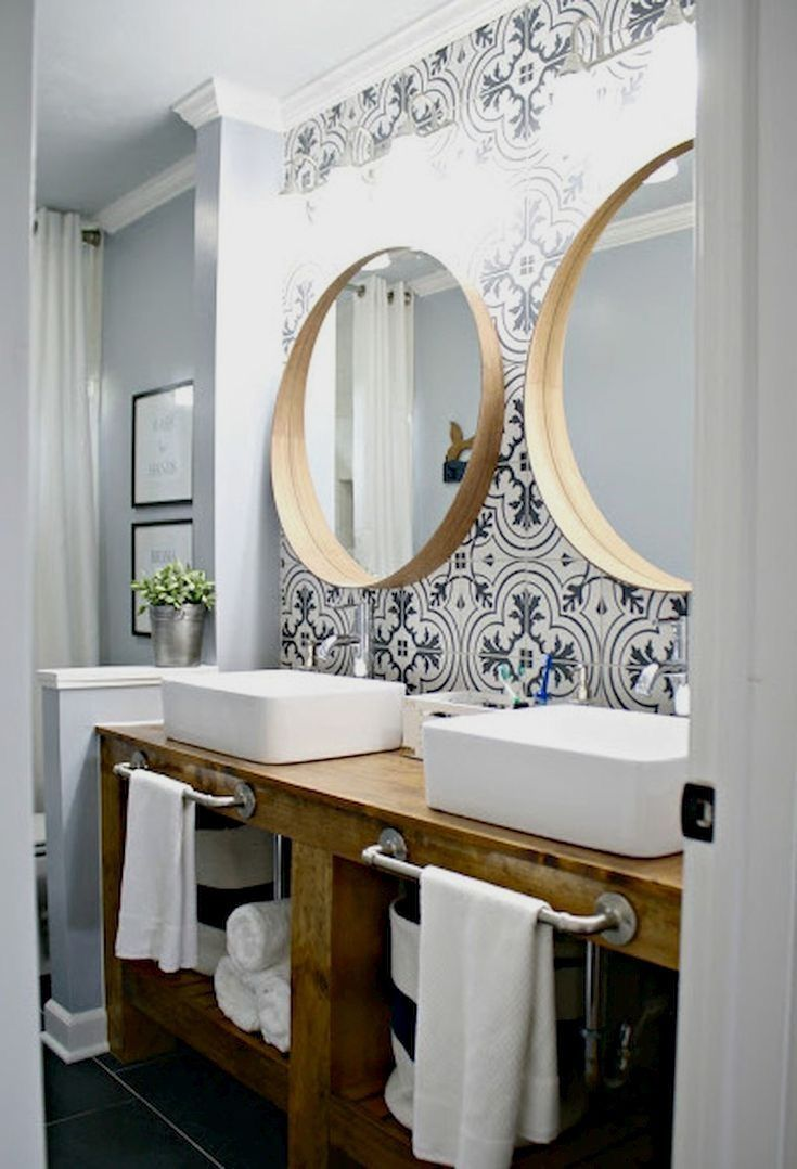 Modern Small Bathroom Decor Ideas #bathroom #decor #ideas #remodel #home # Design #interior #creativeideas #simpleideas #mirror #makeup #fastavel