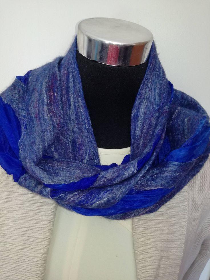 Sapphire & Navy handmade Merino wool felt scarf. Warm Winter Scarf.  Handmade unique scarf. Great gift. Lightweight and warm, easy to ship. by FeltCreativeNZ on Etsy