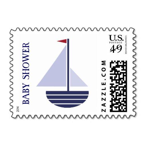 BLUE sailboat BABY shower custom nautical stamp