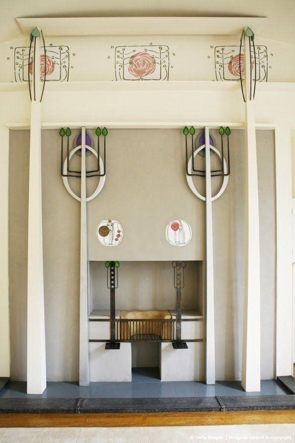 Интерьер дома Чарльза Ренни Макинтоша (Charles Rennie Mackintosh; 1868 -1928) - архитектора, дизайнера и художника, основателя шотландского модерна.     Глазго, Шотландия   1901 г.