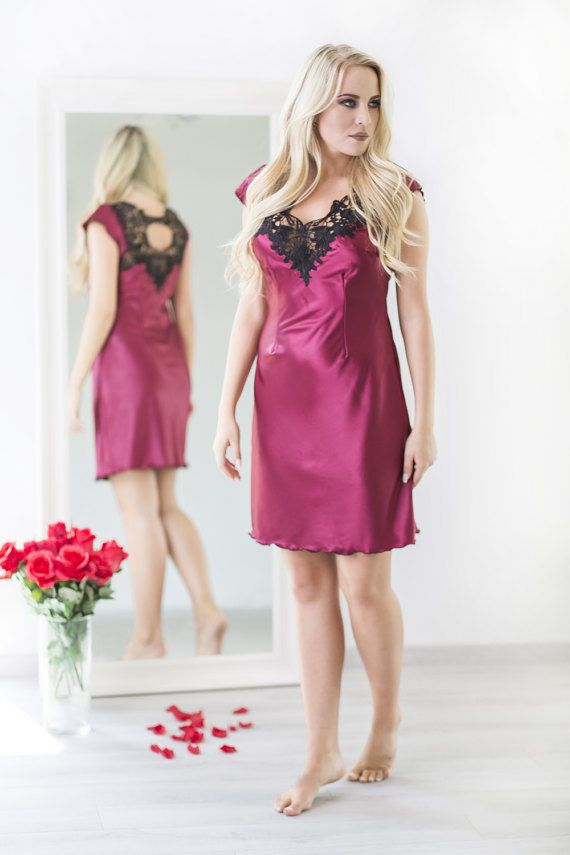 744da066d4 Burgundy Red Satin Nightdress Lingerie Satin Dress Satin