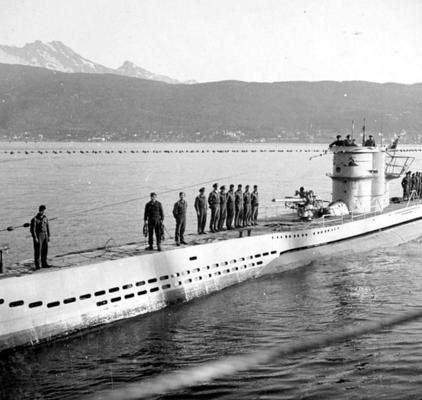 U-Boat ~ German submarine U-251 is at anchor in Narvik (Norway), after attacking convoy PQ-17 in June 1942. The U-251, a Type VIIC submarine, one of which was the workhorse of German U-boats during World War Two. The U-251 was subsequently sunk by British aircraft on April 19, 1945. There were four survivors, thirty-nine men died.~ BFD