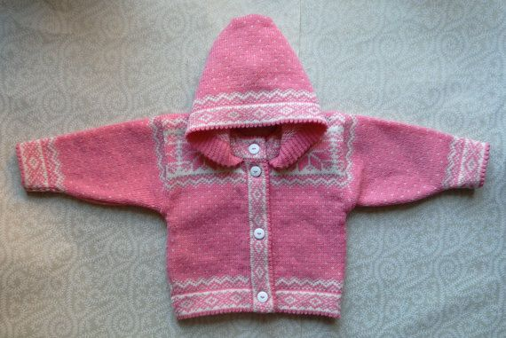 Trendy winter cardigan for children with ornament by LanaNere