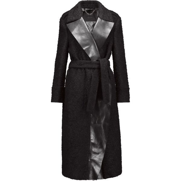 Belstaff Hayton Leather Trimmed Wool Blend Coat ($889) ❤ liked on Polyvore featuring outerwear, coats, leather trim coat, belstaff coat, wool blend coat and belstaff