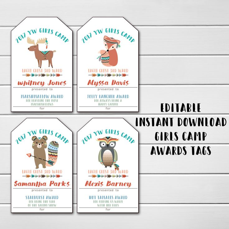 Young Women Girls Camp Awards, LDS Girls Camp, Editable Awards, Candy Treat Award Ideas & Cards, Instant Download, Mormon, Mutual Girls Camp by emmiecakes on Etsy https://www.etsy.com/listing/499441506/young-women-girls-camp-awards-lds-girls
