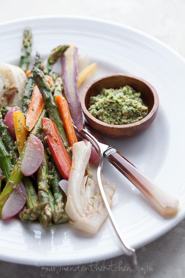 Braised Vegetables with Green Olive Pesto via Gourmande in the Kitchen