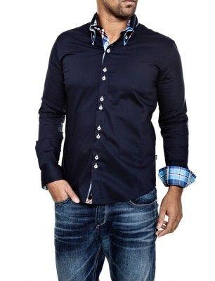 Camisa Carisma detalle cuello doble botón | navy