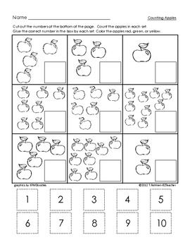 Let your little apple lovers cut, count and paste with this practice sheet for numbers 1 to 10.  This activity is ONE page and can be used in a math center or as morning work or small group. Children count how many apples are in each set and glue the correct numeral beside each set. Perfect for use during your Apple or Fall/Harvest Theme Unit!