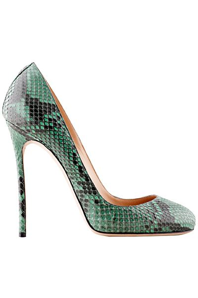 Dsquared2 Green Snake Effect Pumps Fall-Winter 2014 #Dsquared2 #Shoes #Heels
