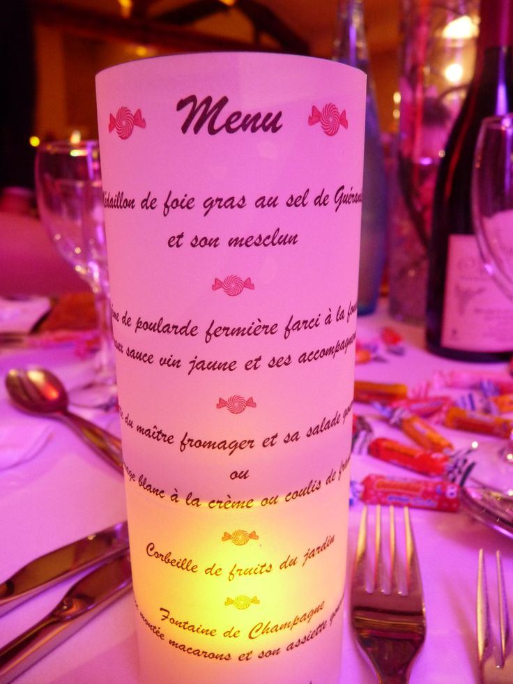 Diy menu papier claque avec bougie led mariage th me for Decoration theme gourmandise