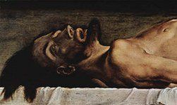 """""""The Body of The Dead Christ in the Tomb"""" (1498) Holbein"""