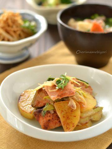 フライパンメイン~鮭とじゃがいものまろやか炒め。切り干しもやしの中華和え。