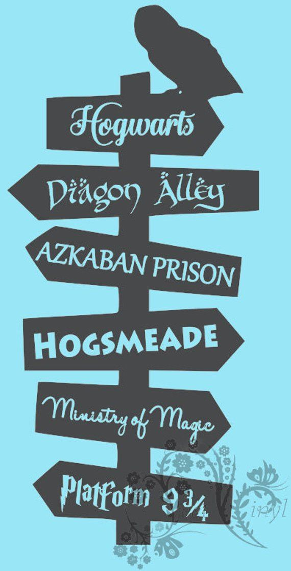 Directions To Harry Potter Wall Vinyl Wall Decor Movie Etsy Wall Vinyl Decor Harry Potter Wall Harry Potter Decal