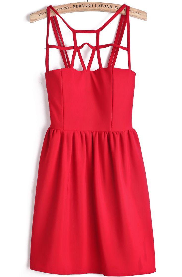 Vestido floral lazo sin manga-rojo