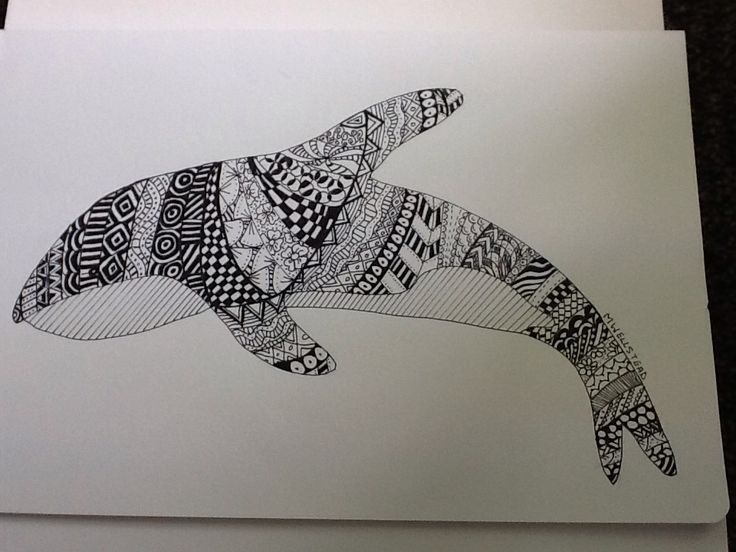 A zentangle whale by me