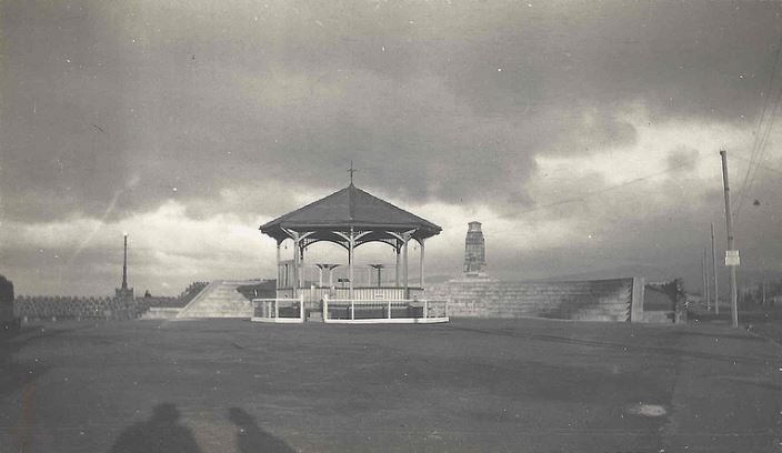 The band Rotunda and War Memorial New Brighton. The band rotunda was moved to this position in 1913 and demolished in the 1950's. The War Memorial was unveiled on 1 November 1925