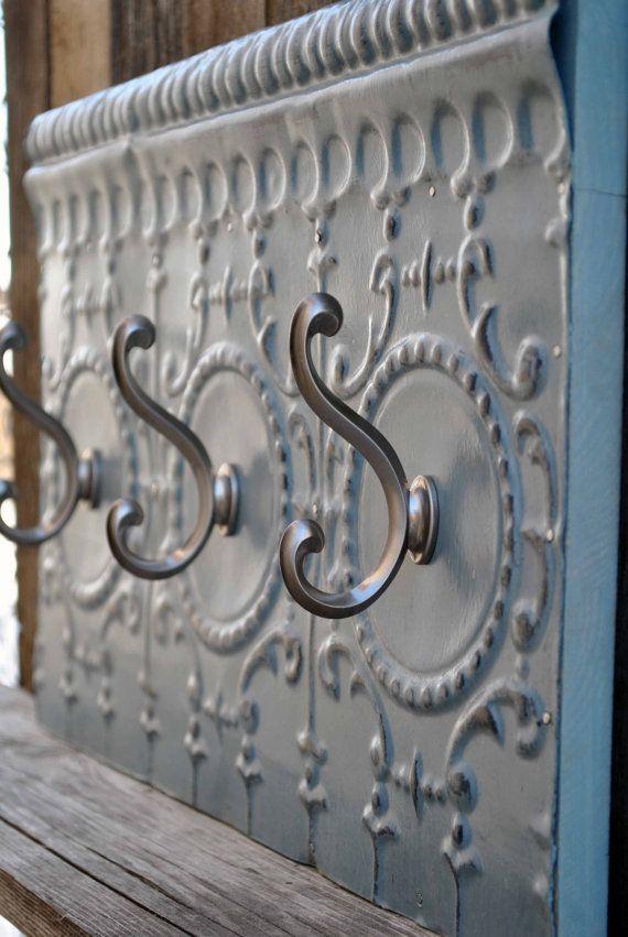 Antique Tin Ceiling Tile Hook Rack Coat Rack Towel Rack Vintage Ornate Rustic on Etsy, $65.00