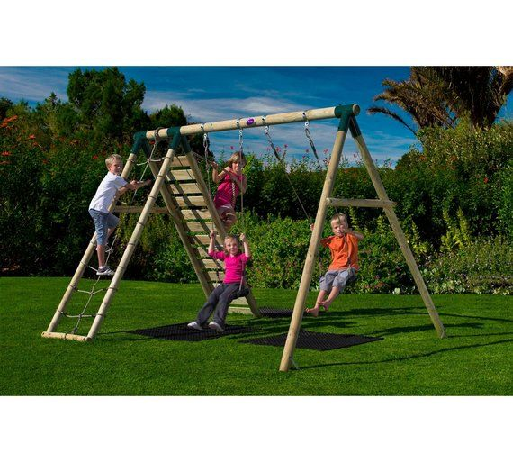 Buy Plum Uakari Wooden Garden Swing Set at Argos.co.uk - Your Online Shop for Swings, Swings, slides and climbing frames, Outdoor toys, Toys.