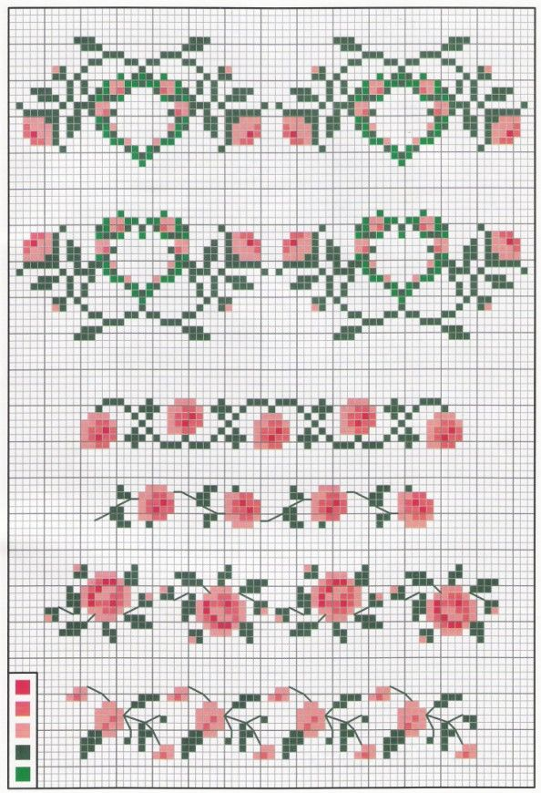 Flores Cross stitch pattern rose flourish motif                                                                                                                                                      More