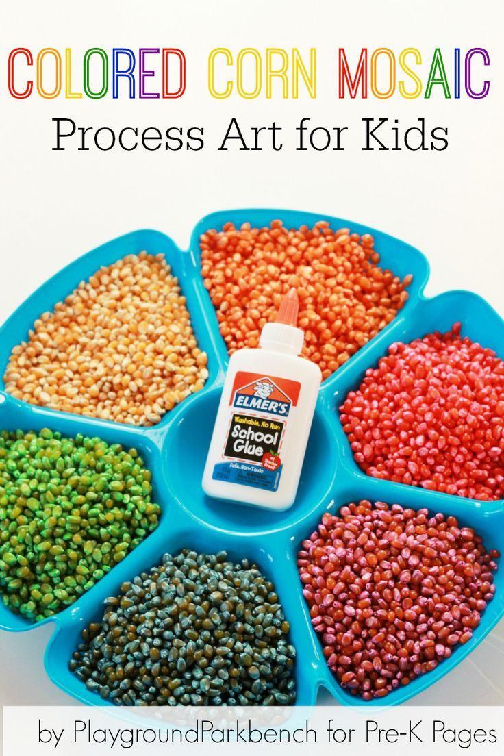 Colored Corn Mosaic Process Art for Preschool. Coloring corn is super easy and fun!