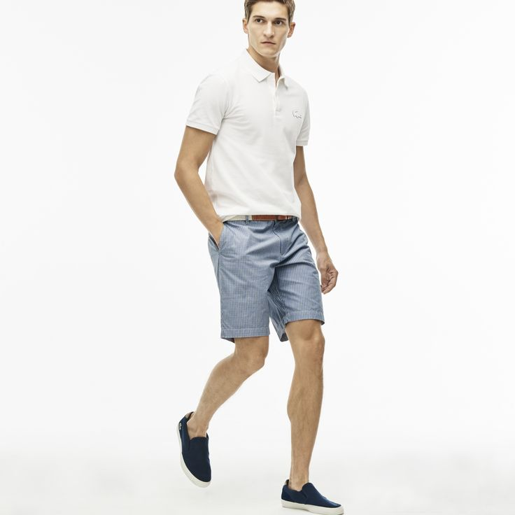 LACOSTE Men's Regular Fit Gingham Cotton Canvas Bermuda Shorts - FLOUR/INKWELL-BLACK. #lacoste #cloth #