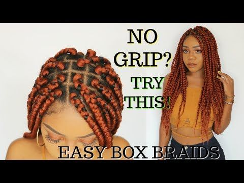 (11) Easy Grip Box Braids Tutorial | Step by Step | Rubberband Method | Natural Hair Protective Style - YouTube