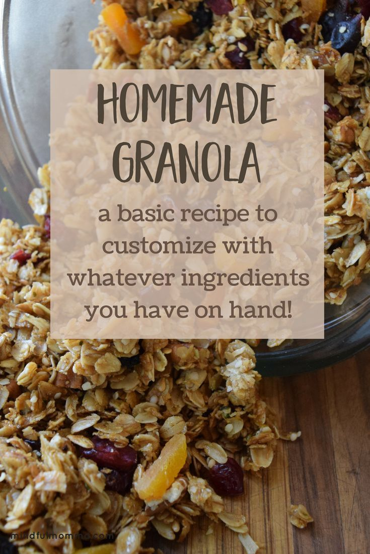 Finally a basic granola recipe that can be easily customized! Start with rolled oats, then add whatever nut and other other mix-ins (coconut, wheat germ etc...) you happen to have in your pantry. Sweeteners and oils can also be swapped out based on preferences and allergies. This recipe gives you the proportions you need to make delicious, healthy homemade granola the whole family will love!   #granola #homemadefood #breakfastideas #healthyrecipe #familyfood  via @mindfulmomma