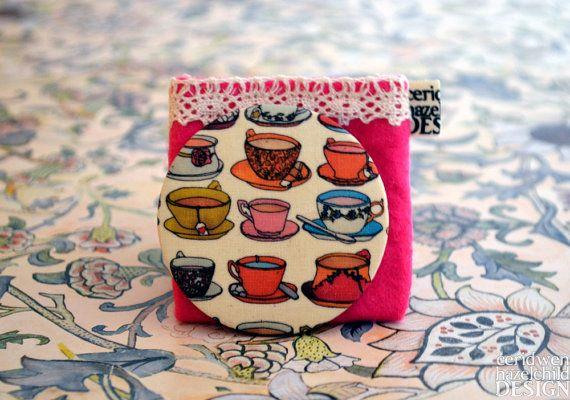 Vintange Teacups and Saucers Illustration Fabric Pocket Mirror
