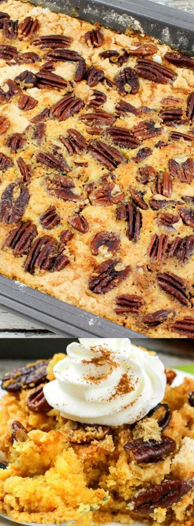 This Pumpkin Pecan Dump Cake from Lisa at My Incredible Recipes is going to become your new go-to holiday dessert! It is SO easy to make and the recipe uses simple ingredients that come together to make a fall dessert that your friends and family will really love!
