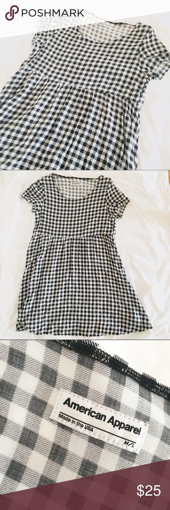 ✨ American Apparel l Gingham Babydoll Dress Gingham print babydoll dress. Very comfy! Size M/L fits sizes 6-10. American Apparel Dresses